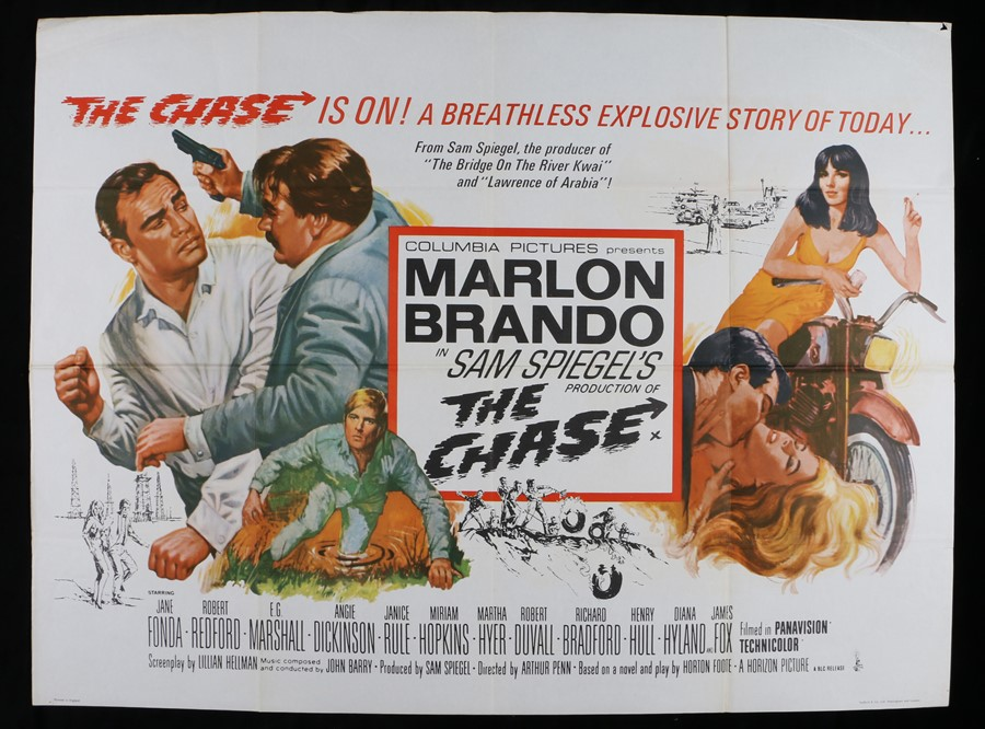 "Lot 45 - The Chase (1966) - British Quad film poster, starring Marlon Brando, folded, 30"" x 40"""