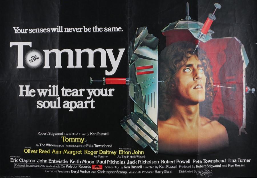 "Lot 42 - Tommy (1975) - British Quad film poster, starring Oliver Reed and Elton John, folded, 30"" x 40"""