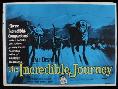 The Incredible Journey (1963) - British Quad film poster, starring Emile Genest and John Drainie,