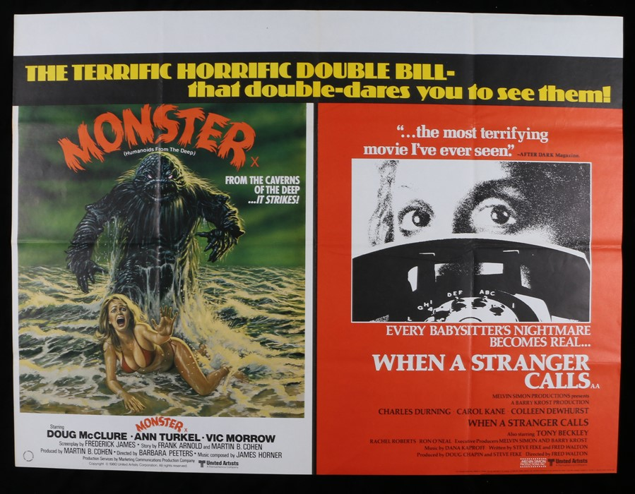 Lot 2 - Monster (Humanoids From The Deep) & When A Stranger Calls - British Quad double-bill poster,