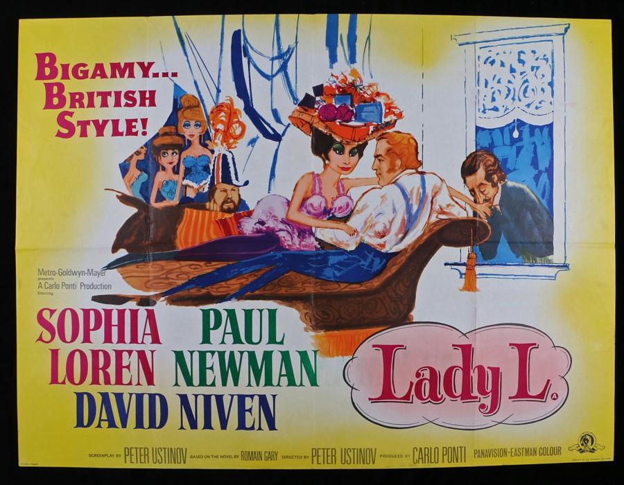 "Lot 39 - Lady L (1965) - British Quad film poster, starring Sophia Loren and Paul Newman, folded, 30"" x 40"""