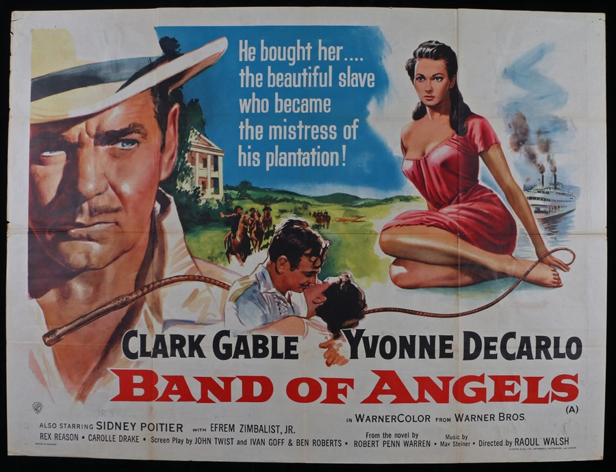 Lot 24 - Band of Angels (1957) - British Quad film poster, starring Clarke Gable, and Yvonne DeCarlo, folded,