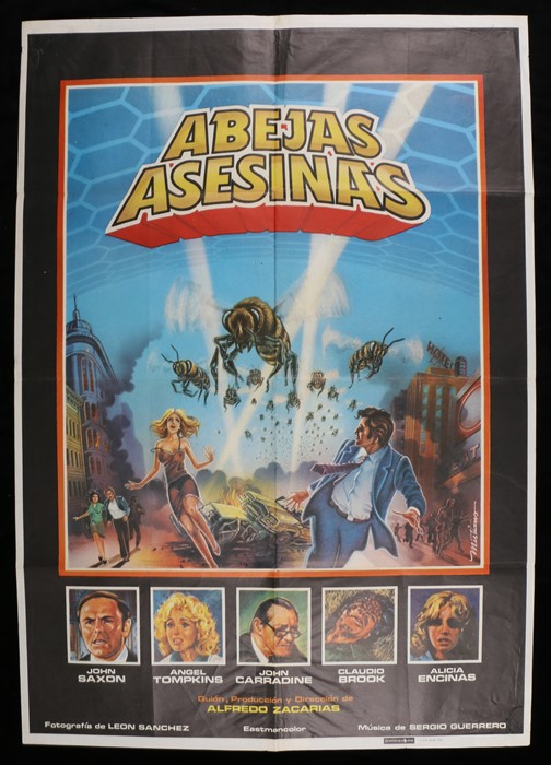 """Lot 53 - The Bees (1978) - one sheet film poster, """"Abejas Asesinas"""" Spanish release, starring John Saxon"""