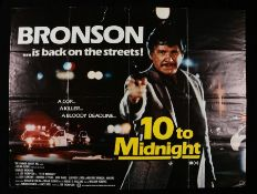 "10 to Midnight (1983) - British Quad film poster, starring Charles Branson, folded, 30"" x 40"""