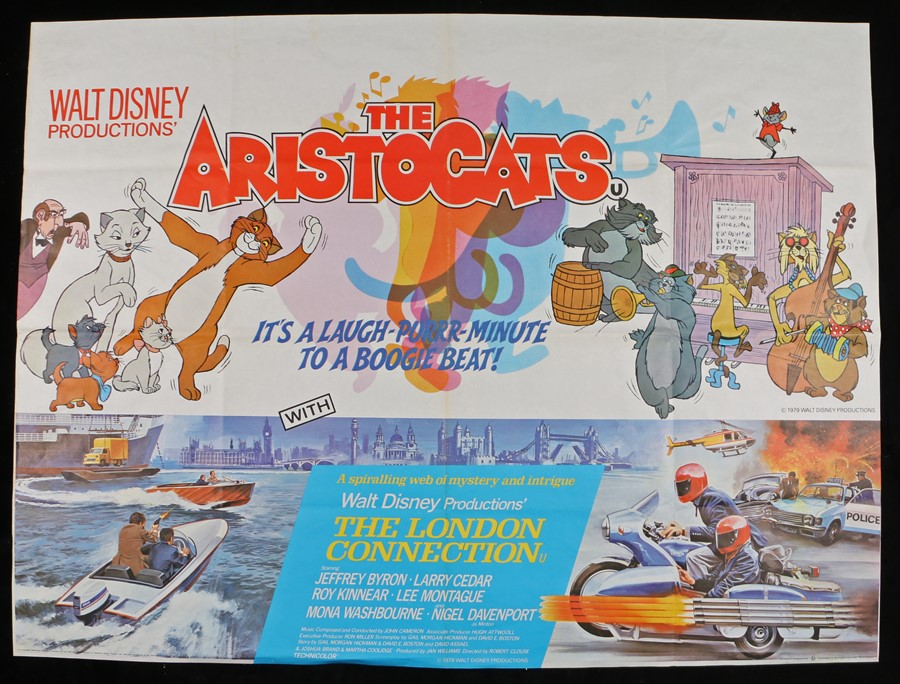 """Lot 54 - The Aristocats (1970) & The London Connection (1979) - British Quad double-bill posters, folded, 30"""""""