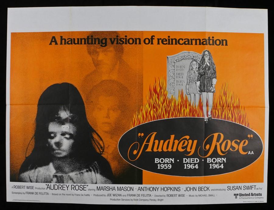 Lot 46 - Audrey Rose (1977) - British Quad film poster, starring Marsha Mason and Anthony Hopkins, folded,