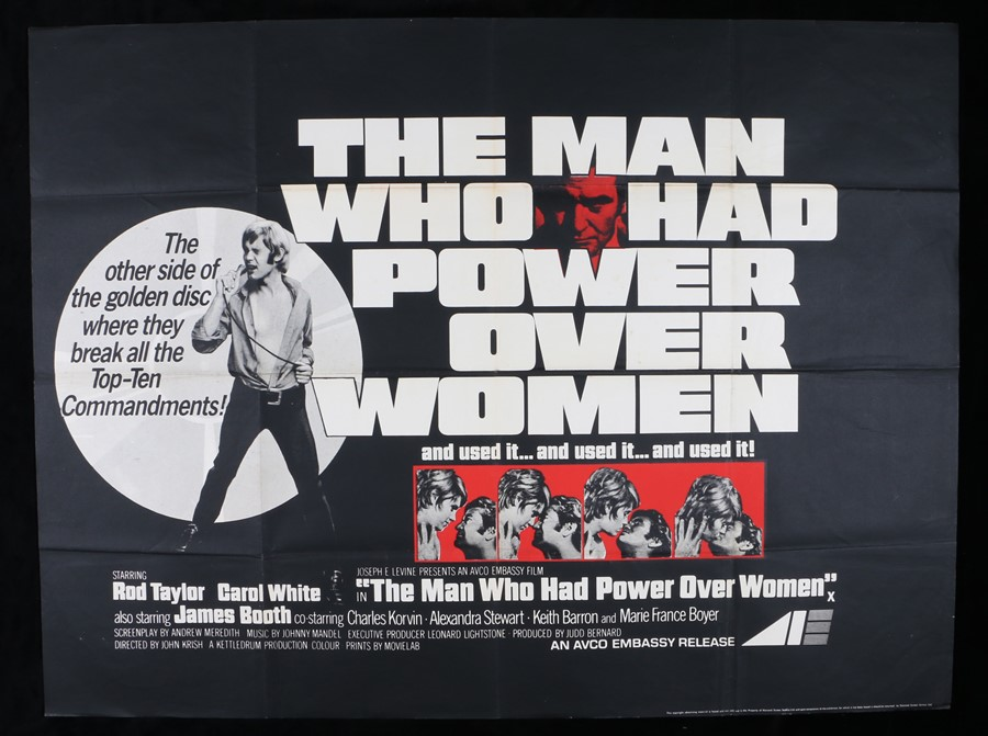 """Lot 59 - The Man Who Had Power Over Women (1970) - British Quad film poster, starring Rod Taylor, folded, 30"""""""