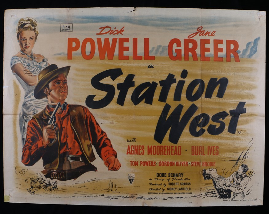 "Lot 25 - Station West (1948) - British Quad film poster, starring Dick Powell and Jane Greer, folded, 30"" x"