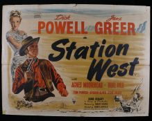 "Station West (1948) - British Quad film poster, starring Dick Powell and Jane Greer, folded, 30"" x"