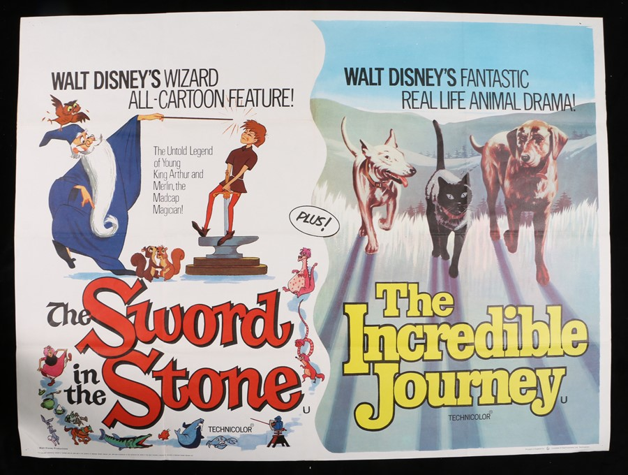 "Lot 34 - The Sword in the Stone & The Incredible Journey (1963) - British Quad double-bills, folded, 30"" x"