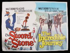 "The Sword in the Stone & The Incredible Journey (1963) - British Quad double-bills, folded, 30"" x"