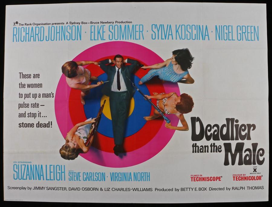 Lot 20 - Deadlier Than The Male (1967) - British Quad film poster, starring Richard Johnson, Elke Sommer, and