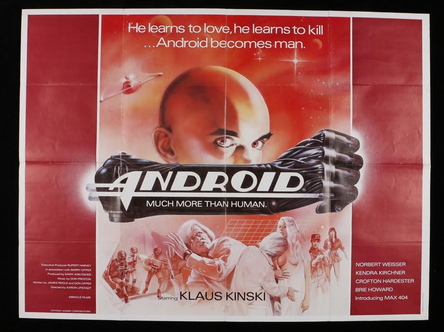 "Lot 30 - Android (1982) - British Quad film poster, starring Klaus Kinski, folded, 30"" x 40"""