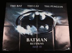 Batman Returns (1992) - British Quad film poster, starring Michael Keaton, Danny DeVito, and