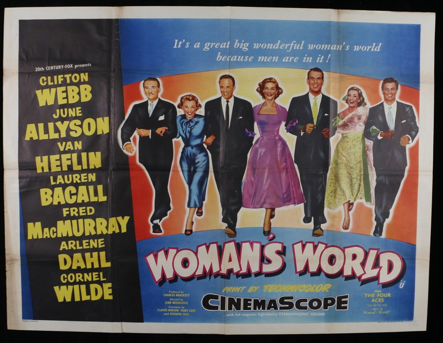 Lot 22 - Woman's World (1954) - British Quad film poster, starring Clifton Webb, and June Allyson, folded,