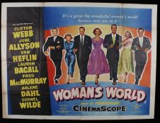 Woman's World (1954) - British Quad film poster, starring Clifton Webb, and June Allyson, folded,