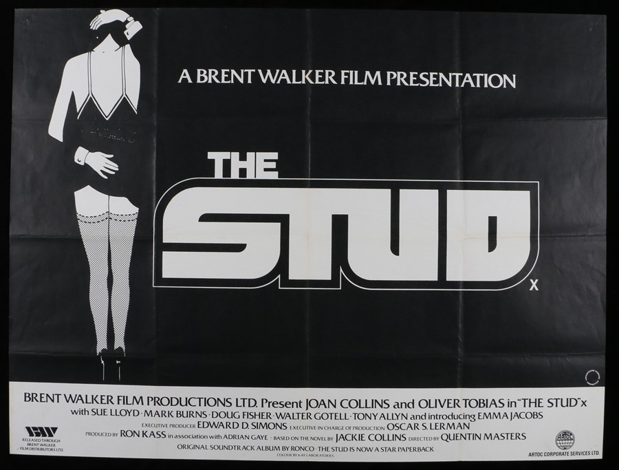 """Lot 21 - The Stud (1978) - British Quad film poster, starring Joan Collins and Oliver Tobias, folded, 30"""" x"""