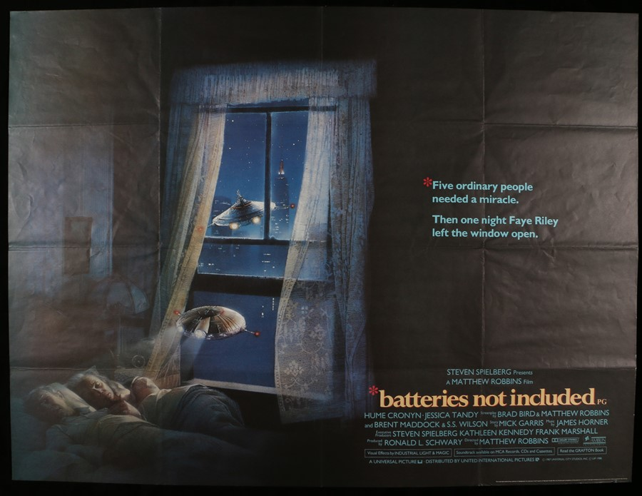 Lot 27 - Batteries not Included (1987) - British Quad film poster, starring Hume Cronyn and Jessica Tandy,