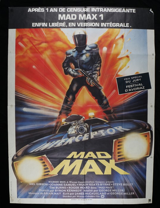 Lot 41 - Mad Max (1979) - Bus stop film poster in French, designed by John Hamagami, starring Mel Gibson