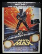 Mad Max (1979) - Bus stop film poster in French, designed by John Hamagami, starring Mel Gibson