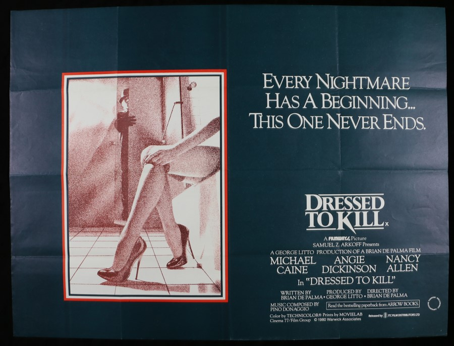 Lot 10 - Dressed to Kill (1980) - British Quad film poster, starring Michael Caine, Angie Dickinson, Nancy