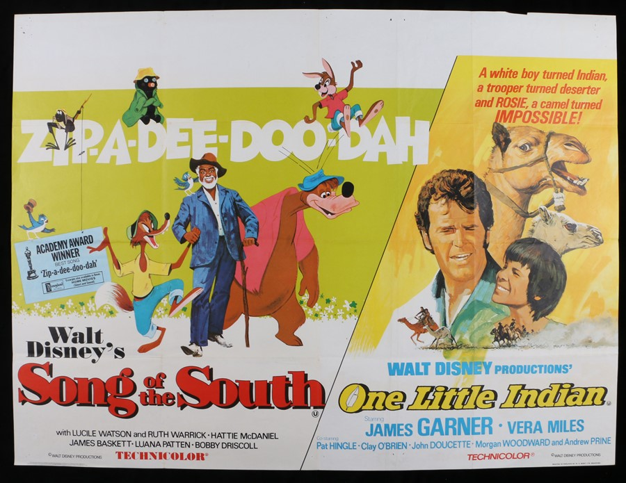 """Lot 36 - Song of the South (1946) & One Little Indian (1973) - British Quad double-bill poster, folded, 30"""" x"""
