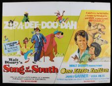"Song of the South (1946) & One Little Indian (1973) - British Quad double-bill poster, folded, 30"" x"