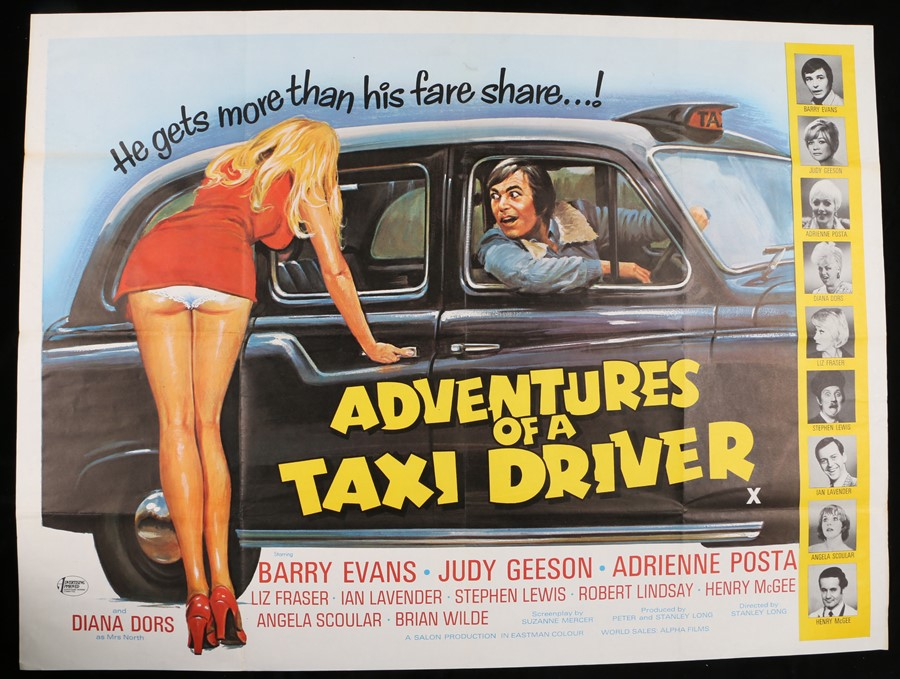 """Lot 55 - Adventures of a Taxi Driver (1976) - British Quad film poster, starring Barry Evans, folded, 30"""" x"""