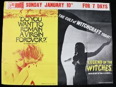Do You Want to Remain a Virgin Forever? (1969) & Legend of the Witches (1970) - British Quad film