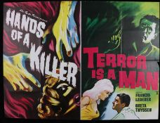 Hands of a Killer & Terror is a Man (1959) - British Quad double-bill poster, starring Francis