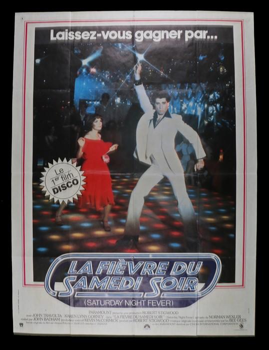 Lot 49 - Saturday Night Fever (1977) - Bus stop film poster in French, starring John Travolta and Karen