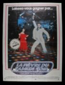 Saturday Night Fever (1977) - Bus stop film poster in French, starring John Travolta and Karen