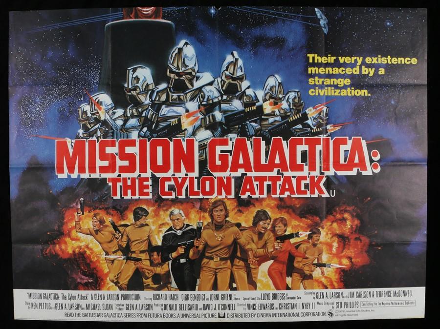 Lot 3 - Mission Galactica: The Cyclon Attack (1979) - British Quad film poster designed by Robert Tanenbaum,