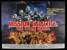 Mission Galactica: The Cyclon Attack (1979) - British Quad film poster designed by Robert Tanenbaum,