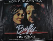 """Barfly (1987) - British Quad film poster, starring Mickey Rourke and Faye Dunaway, rolled, 30"""" x"""