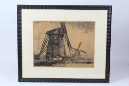 Dutch etching depicting two windmills, signed indistinctly, titled Molen ....? numbered 15/150,