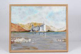 RJ, Kilchurn Castle Argyll, initialled oil on board, two Scottish loch prints, floral print ,