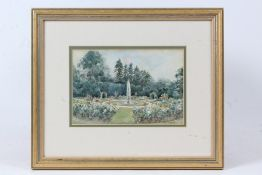 Lillian Stannard (1877-1944), formal garden with central fountain, signed watercolour, housed in a
