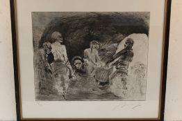 Paul Rumsey (B1956), figures in a mine, signed lithograph, numbered 51/250, titled indistinctly