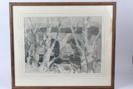 John McCutcheon R.O.I (1910-1995), bridge with trees to the foreground, signed watercolour, housed