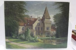 Grossmann? grand house with figures and a fountain to the foreground, the other depicting a fountain