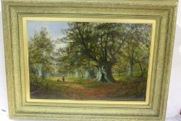 Nilmean? woodland scene with figures beneath trees, indistinctly signed oil on canvas, housed in a