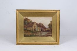 C.P. Hunt, farm buildings with trees to the rear, signed watercolour, housed in a gilt glazed frame,