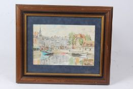 Watercolour depicting a harbourside scene, print of a ploughed field, black and white photographs to