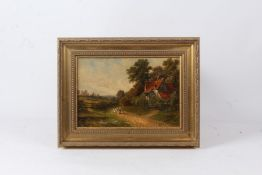 Luck? landscape scene with cottage and figure following geese, indistinctly signed oil on board,