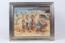 """Patricia Terrell, """"Beach"""", signed oil on board, housed in a silvered glazed frame, the oil 29cm x"""