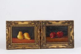 Laura Kelly, four still life studies of black grapes, pears, plums and apples, signed oil on