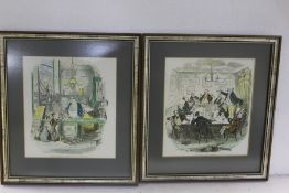 Pictures and prints to include watercolour of a church interior, pair of floral watercolour studies,