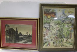 Prints to include Scottish and Irish loch scenes, three Japanese floral studies, gilt frames etc. (