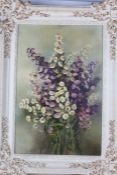 """Mrs Knight Hepburn, """"Micelmas Daisies"""", oil on board, housed in a cream painted frame, the oil"""